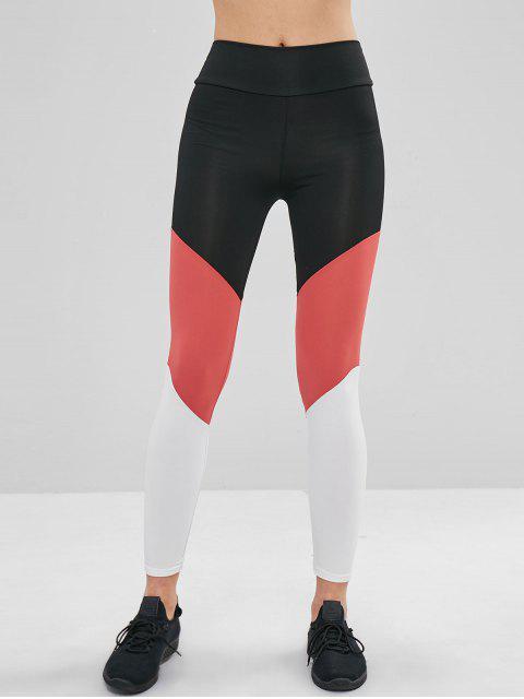 best Color Block High Waisted Leggings - MULTI XL Mobile