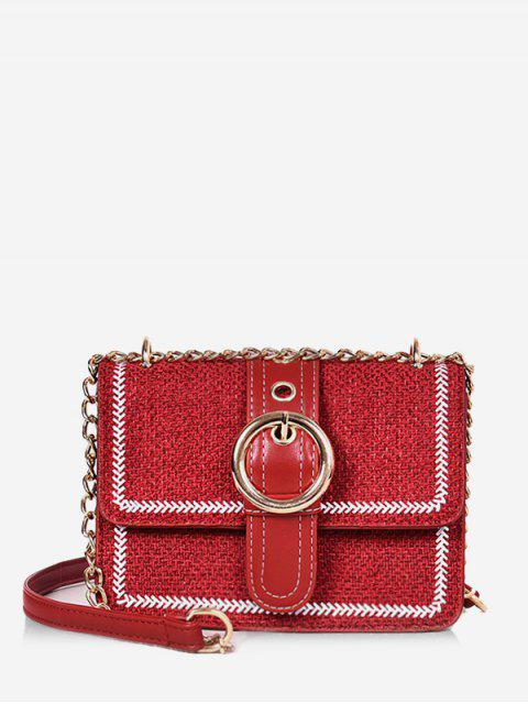lady Magnet Snap Hoop Decoration Crossbody Bag - RED  Mobile