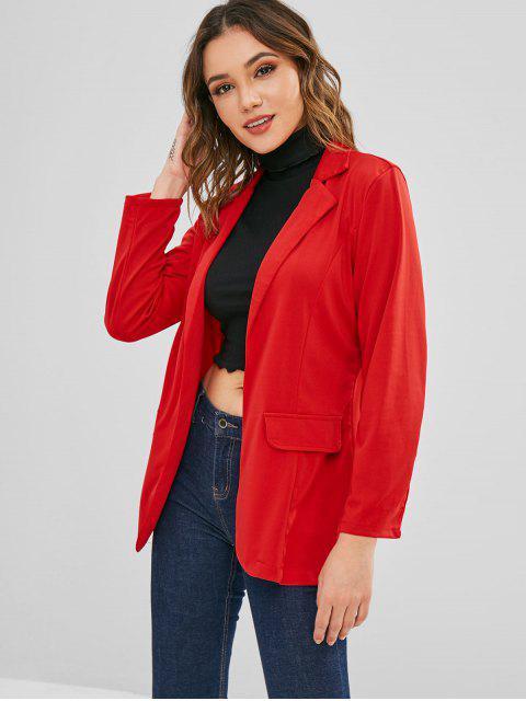 women Open Front Lapel Blazer - LAVA RED XL Mobile