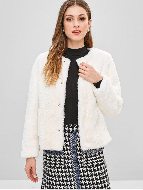 women Snap Button Fluffy Faux Fur Coat - WHITE L Mobile