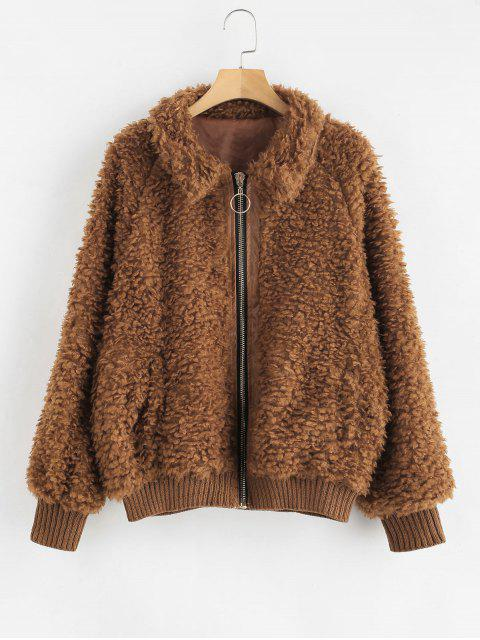 fancy Cozy Zip Up Faux Fur Winter Coat - BROWN S Mobile
