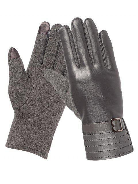 shops Unique Square Bucket Faux Leather Biker Gloves - GRAY  Mobile