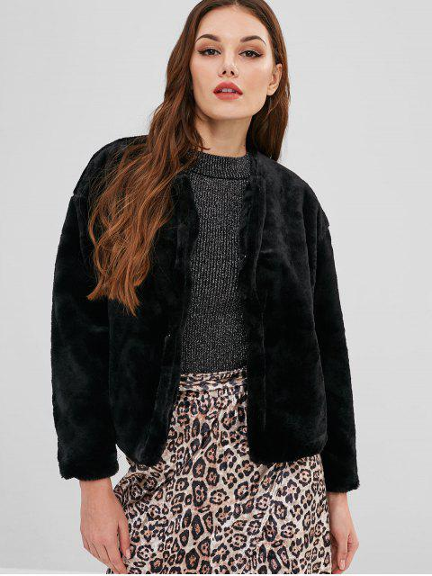 fancy Snap Button Fluffy Faux Fur Coat - BLACK M Mobile