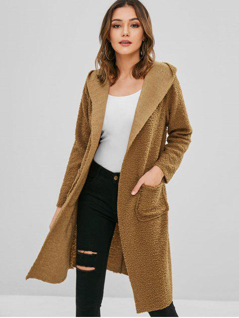 hot Longline Fluffy Faux Shearling Teddy Coat - DARK GOLDENROD S Mobile