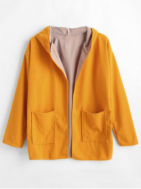 fancy Hooded Pockets Open Front Coat - BEE YELLOW L Mobile