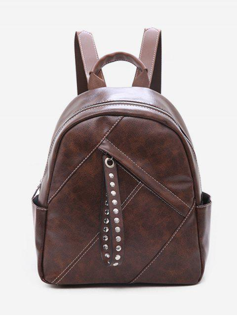 sale Large Capacity Rivet Zipper School Backpack - BROWN  Mobile