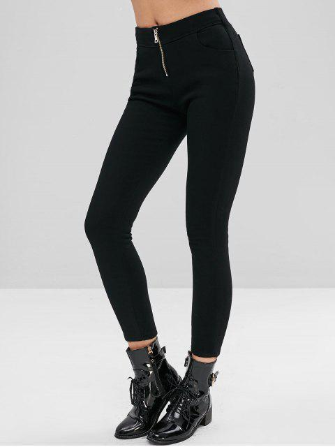 Pantalones capri pitillo de color liso - Negro XL Mobile
