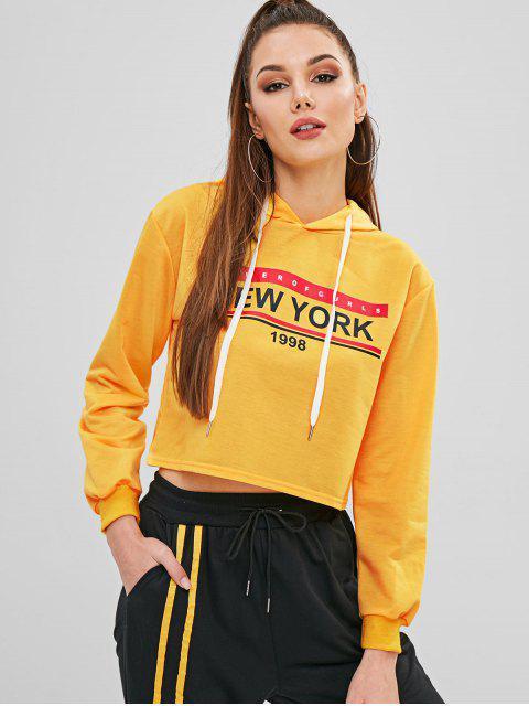 Sudadera con capucha y lazo gráfico con letras - Amarillo Brillante XL Mobile