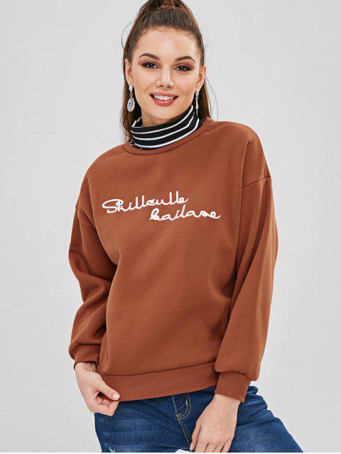 Rollkragenpullover mit Streifen besticktes Sweatshirt - Hellbraun L Mobile