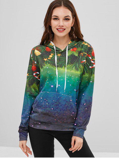 Sudadera con capucha y bolsillo estampado navideño - Multicolor XL Mobile