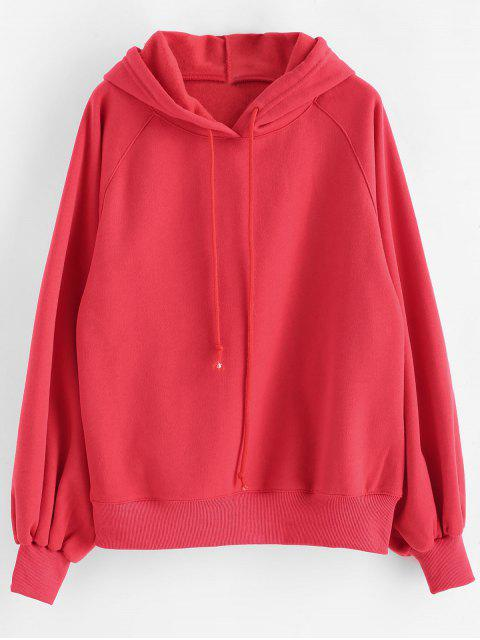 Lantern Sleeves Plain Drawstring Hoodie - Rojo L Mobile