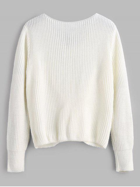 outfit V Neck Twist Front Pullover Sweater - WHITE ONE SIZE Mobile