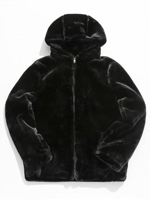 shop Solid Faux Fur Thick Jacket - BLACK S Mobile