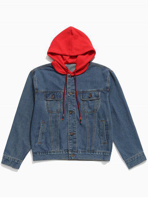 shops Hood Patchwork Casual Denim Jacket - DENIM DARK BLUE L Mobile
