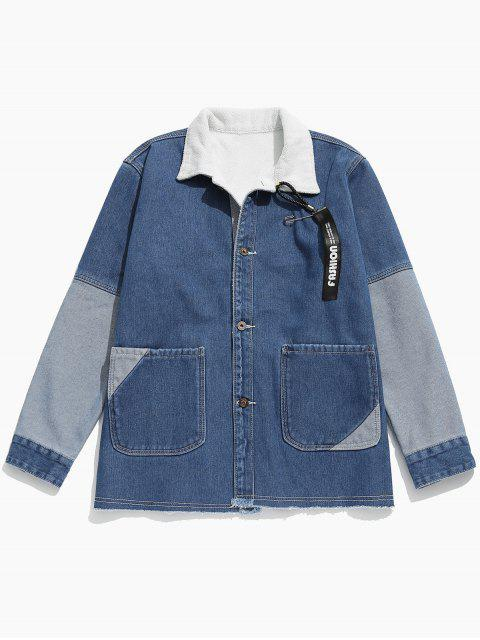 latest Colorblock Patchwork Fleece Denim Jacket - JEANS BLUE L Mobile