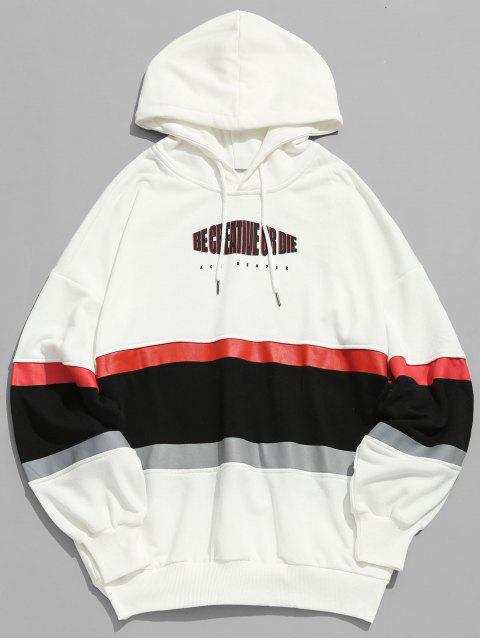shops Letter Stripe Print Patchwork Hoodie - WHITE 2XL Mobile