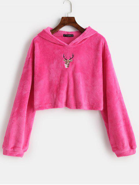online ZAFUL Reindeer Embroidered Christmas Fluffy Hoodie - ROSE RED XL Mobile
