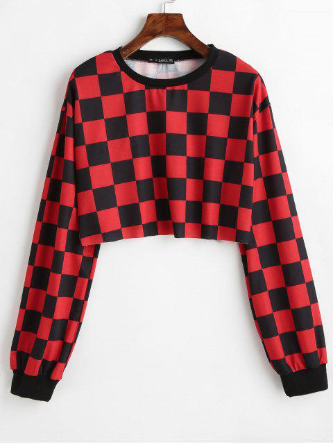 outfits ZAFUL Contrast Checkered Crop Sweatshirt - RED XL Mobile