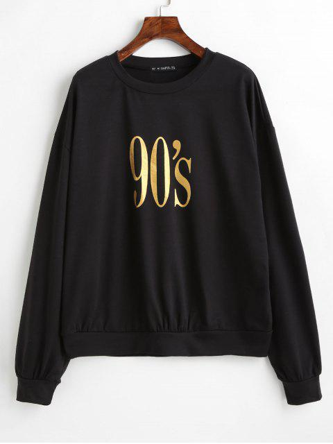 trendy ZAFUL Number Graphic Loose Sweatshirt - BLACK XL Mobile