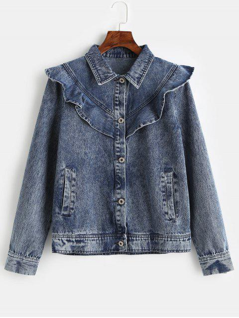 ZAFUL Ruffles Button Up chaqueta de mezclilla - Azul Oscuro de Denim S Mobile