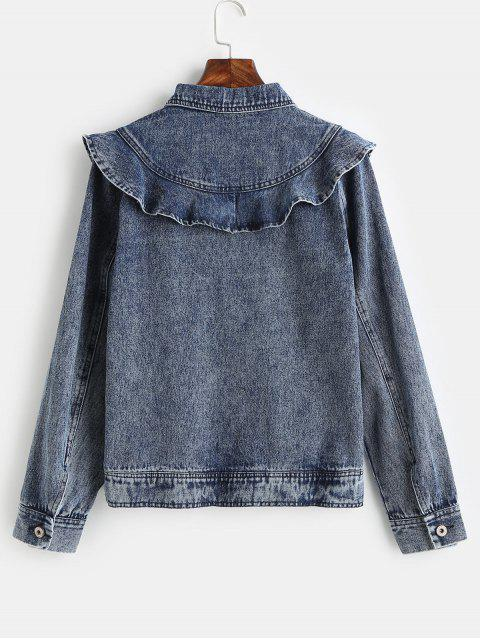 ZAFUL Ruffles Button Up chaqueta de mezclilla - Azul Oscuro de Denim XL Mobile