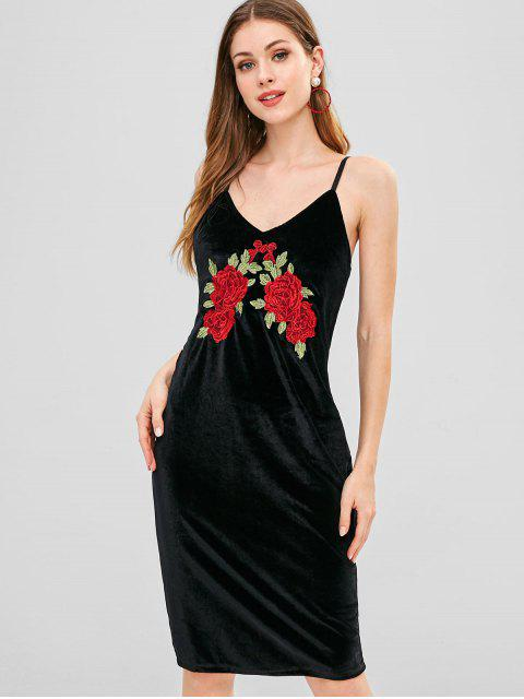 affordable Embroidery Floral Velvet Cami Dress - BLACK L Mobile
