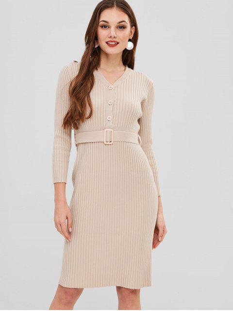 women Belted Long Sleeve Sweater Dress - BLANCHED ALMOND ONE SIZE Mobile