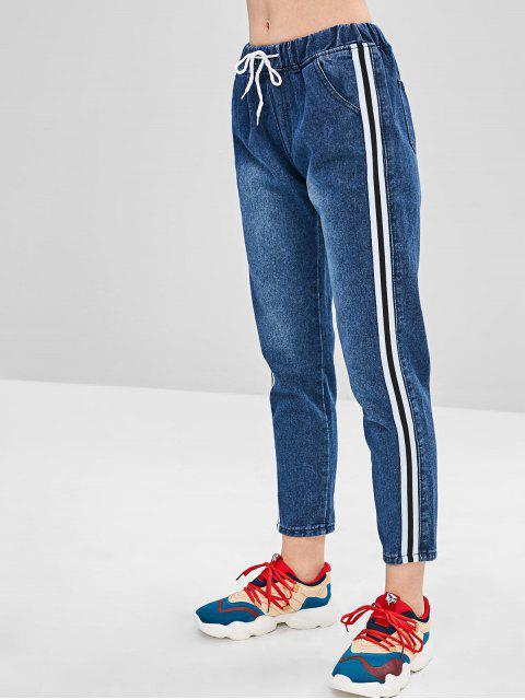 shop Side Striped Drawstring Jeans - DENIM DARK BLUE M Mobile