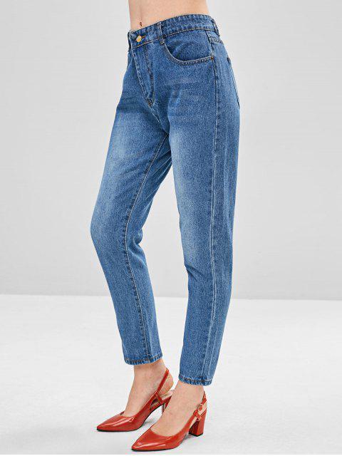 latest Basic Straight Jeans - DENIM BLUE S Mobile