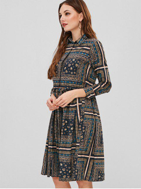 unique Frilled Printed Button Up Shirt Dress - MULTI M Mobile