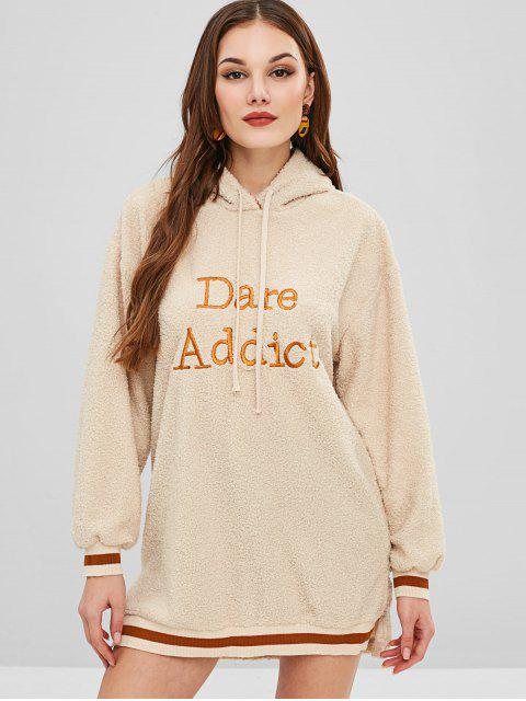 hot Fluffy Letter Embroidered Hoodie Dress - BLONDE ONE SIZE Mobile