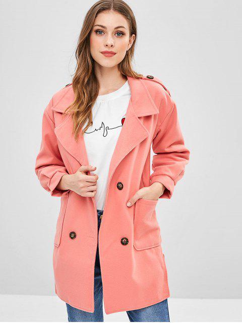 fancy Wool Blend Slit Longline Pocket Coat - PINK S Mobile