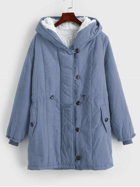 women's Faux Fur Lined Winter Parka Coat - BLUE GRAY XL Mobile