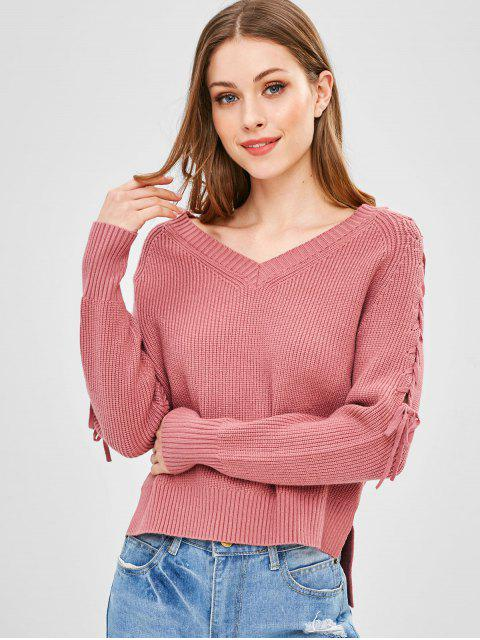 hot Step Hem V Neck Lace Up Sweater - LIPSTICK PINK ONE SIZE Mobile