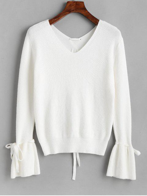 trendy Flare Sleeve V Neck Lace Up Sweater - WHITE ONE SIZE Mobile