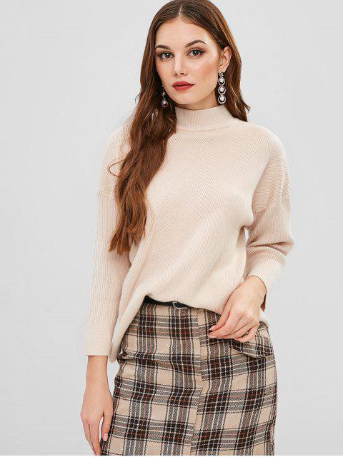 sale Ribbed Drop Shoulder Sweater - BLANCHED ALMOND ONE SIZE Mobile