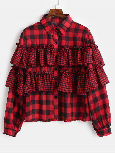 buy Button Down Ruffles Plaid Shirt - LAVA RED L Mobile