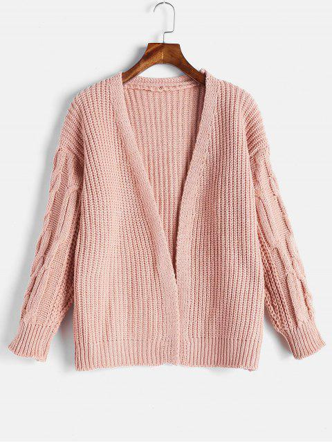 women's Cable Knit Open Front Chunky Cardigan - LIGHT PINK ONE SIZE Mobile
