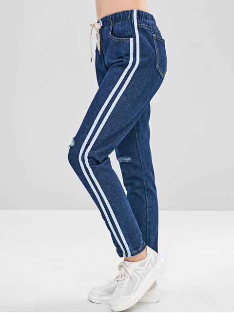 Jeans a rayas con cordón lateral rotos - Azul Oscuro de Denim S Mobile