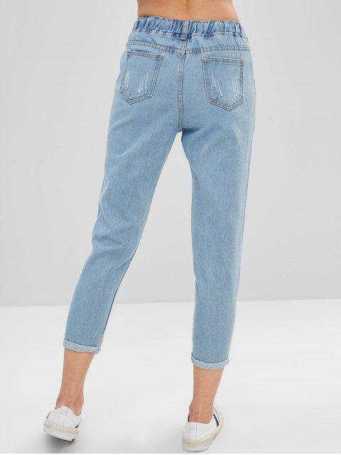 Jeans bordados con puños bordados con letras - Azul de Jeans  S Mobile