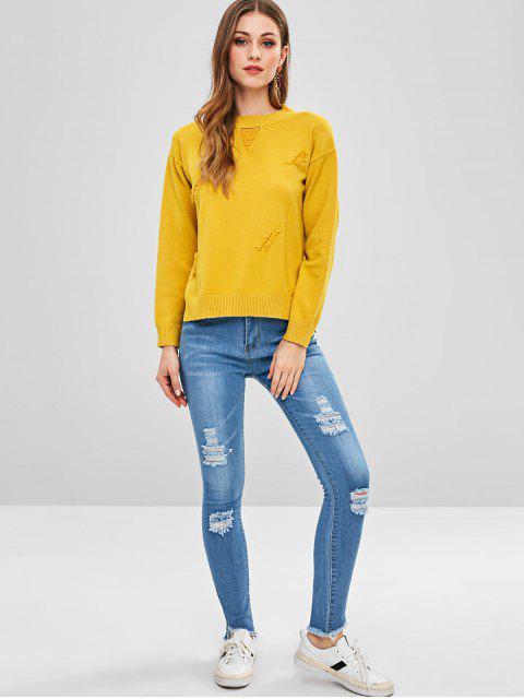 Jeans ajustados con bajo desgastado y desgastado - Azul Claro M Mobile