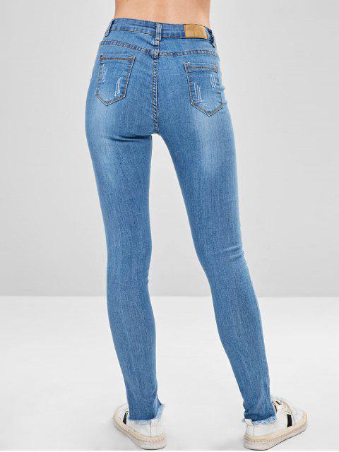 Jeans ajustados con bajo desgastado y desgastado - Azul Claro S Mobile
