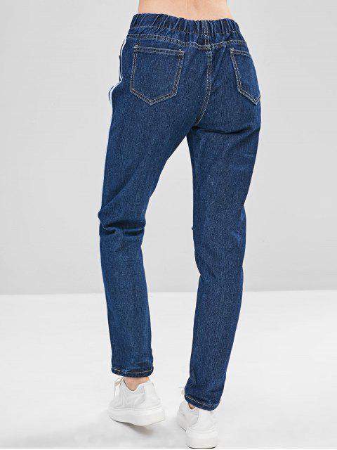 Jeans a rayas con cordón lateral rotos - Azul Oscuro de Denim XL Mobile