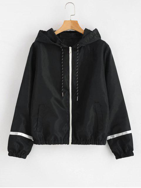 latest Stripe Panel Windbreaker Jacket - BLACK M Mobile