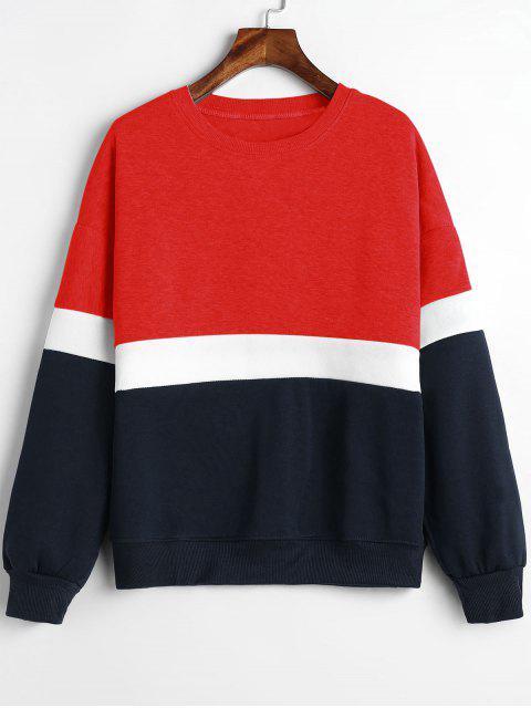 Sweat-shirt Panneau en Blocs de Couleurs en Laine - Rouge L Mobile