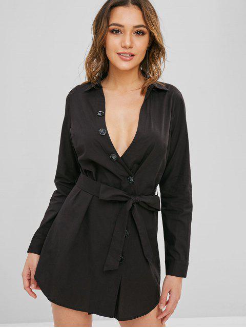 ZAFUL Button Up cinturón vestido informal - Negro L Mobile