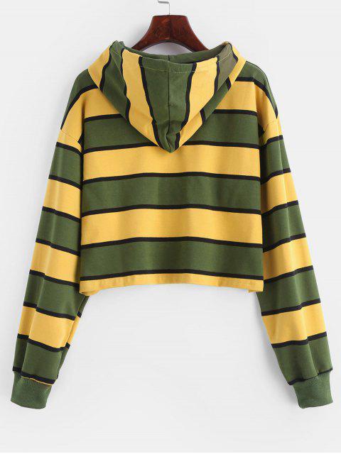 shop ZAFUL Stripe Crop Hoodie - MULTI-B S Mobile