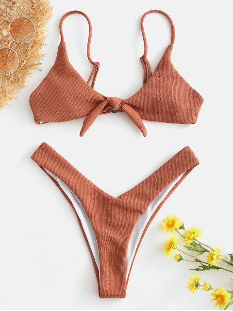 Geknotetes Geripptes Hochgeschnittenes Bikini -Set - Tiger Orange S Mobile