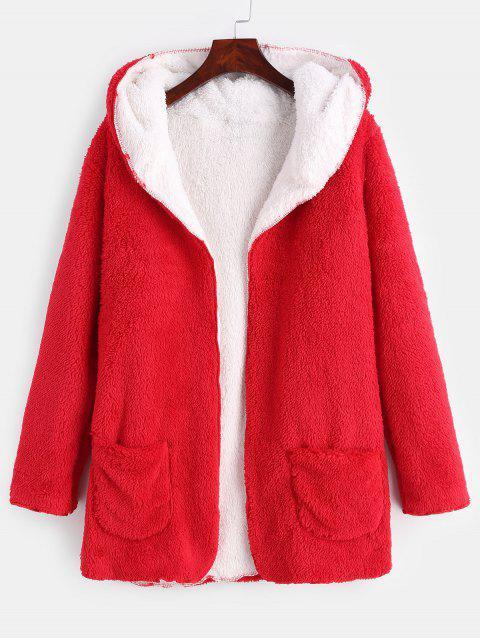 women Front Pocket Fluffy Coat - RED S Mobile