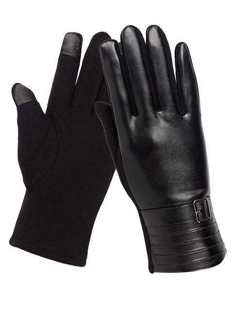 hot Unique Square Bucket Faux Leather Biker Gloves - BLACK  Mobile